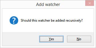 A watcher added recursively will display all subfolders in addition to the data files